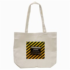 Under Construction Sign Iron Line Black Yellow Cross Tote Bag (cream) by Mariart