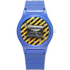 Under Construction Sign Iron Line Black Yellow Cross Round Plastic Sport Watch (s) by Mariart