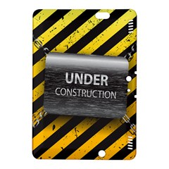 Under Construction Sign Iron Line Black Yellow Cross Kindle Fire Hdx 8 9  Hardshell Case by Mariart
