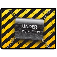 Under Construction Sign Iron Line Black Yellow Cross Double Sided Fleece Blanket (large)  by Mariart