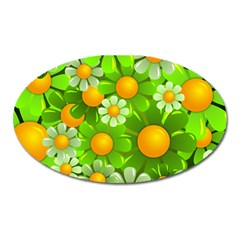 Sunflower Flower Floral Green Yellow Oval Magnet by Mariart