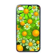 Sunflower Flower Floral Green Yellow Apple Iphone 4 Case (black) by Mariart