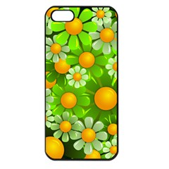 Sunflower Flower Floral Green Yellow Apple Iphone 5 Seamless Case (black) by Mariart