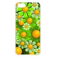 Sunflower Flower Floral Green Yellow Apple Iphone 5 Seamless Case (white) by Mariart