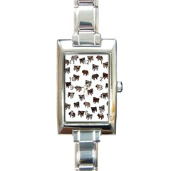 Pug Dog Pattern Rectangle Italian Charm Watch by Valentinaart