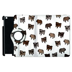 Pug Dog Pattern Apple Ipad 3/4 Flip 360 Case by Valentinaart