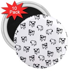 Pug Dog Pattern 3  Magnets (10 Pack)  by Valentinaart