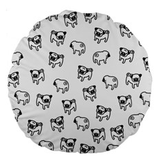 Pug Dog Pattern Large 18  Premium Round Cushions by Valentinaart