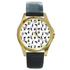 Black Cats Pattern Round Gold Metal Watch by Valentinaart