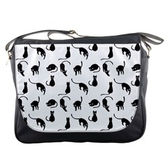 Black Cats Pattern Messenger Bags by Valentinaart