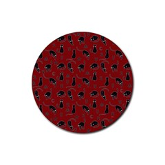 Black Cats And Witch Symbols Pattern Rubber Coaster (round)  by Valentinaart