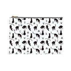 Black Cats And Witch Symbols Pattern Cosmetic Bag (large)  by Valentinaart