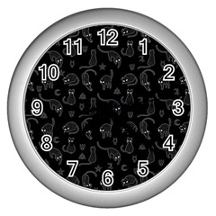 Black Cats And Witch Symbols Pattern Wall Clocks (silver)  by Valentinaart