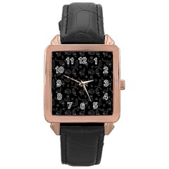 Black Cats And Witch Symbols Pattern Rose Gold Leather Watch  by Valentinaart