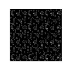 Black Cats And Witch Symbols Pattern Small Satin Scarf (square) by Valentinaart