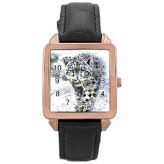 Snow Leopard Rose Gold Leather Watch  by kostart