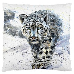 Snow Leopard Standard Flano Cushion Case (one Side) by kostart