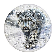 Snow Leopard  Round Filigree Ornament (two Sides) by kostart