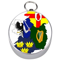 Flag Map Of Provinces Of Ireland Silver Compasses by abbeyz71