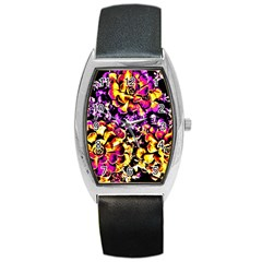 Purple Yellow Flower Plant Barrel Style Metal Watch by Costasonlineshop