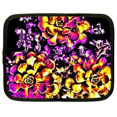 Purple Yellow Flower Plant Netbook Case (large) by Costasonlineshop