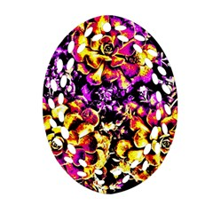 Purple Yellow Flower Plant Oval Filigree Ornament (two Sides) by Costasonlineshop