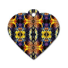 Mystic Yellow Blue Ornament Pattern Dog Tag Heart (one Side) by Costasonlineshop