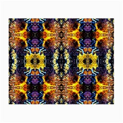 Mystic Yellow Blue Ornament Pattern Small Glasses Cloth (2 Side) by Costasonlineshop