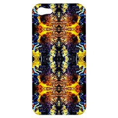 Mystic Yellow Blue Ornament Pattern Apple Iphone 5 Hardshell Case by Costasonlineshop
