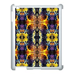 Mystic Yellow Blue Ornament Pattern Apple Ipad 3/4 Case (white) by Costasonlineshop