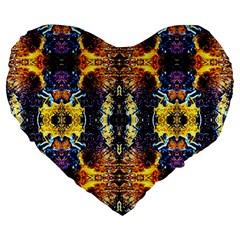 Mystic Yellow Blue Ornament Pattern Large 19  Premium Flano Heart Shape Cushions by Costasonlineshop