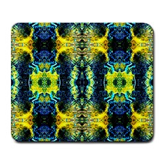 Mystic Yellow Green Ornament Pattern Large Mousepads by Costasonlineshop