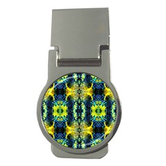 Mystic Yellow Green Ornament Pattern Money Clips (round)  by Costasonlineshop