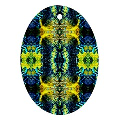 Mystic Yellow Green Ornament Pattern Oval Ornament (two Sides) by Costasonlineshop