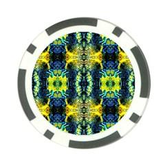 Mystic Yellow Green Ornament Pattern Poker Chip Card Guard by Costasonlineshop