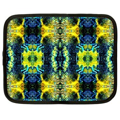 Mystic Yellow Green Ornament Pattern Netbook Case (xl)  by Costasonlineshop