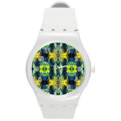 Mystic Yellow Green Ornament Pattern Round Plastic Sport Watch (m) by Costasonlineshop