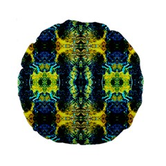 Mystic Yellow Green Ornament Pattern Standard 15  Premium Round Cushions by Costasonlineshop