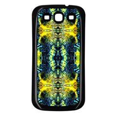 Mystic Yellow Green Ornament Pattern Samsung Galaxy S3 Back Case (black) by Costasonlineshop