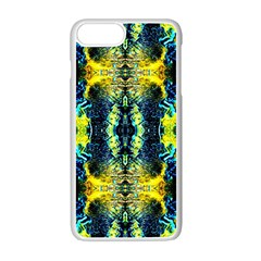 Mystic Yellow Green Ornament Pattern Apple Iphone 7 Plus White Seamless Case by Costasonlineshop