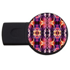 Mystic Red Blue Ornament Pattern Usb Flash Drive Round (2 Gb) by Costasonlineshop
