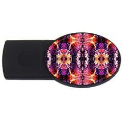 Mystic Red Blue Ornament Pattern Usb Flash Drive Oval (4 Gb) by Costasonlineshop