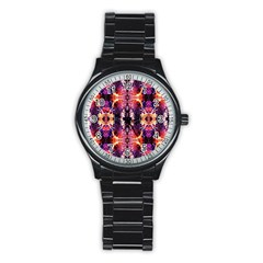 Mystic Red Blue Ornament Pattern Stainless Steel Round Watch by Costasonlineshop