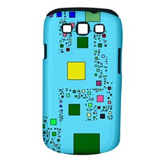 Squares on a blue background      Samsung Galaxy S II i9100 Hardshell Case (PC+Silicone) by LalyLauraFLM