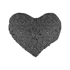 Modern Intricate Optical Standard 16  Premium Flano Heart Shape Cushions by dflcprints