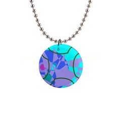 Purple Blue Shapes              1  Button Necklace by LalyLauraFLM