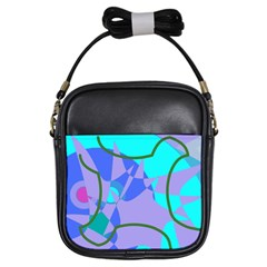 Purple Blue Shapes              Girls Sling Bag by LalyLauraFLM