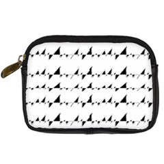Black And White Wavy Stripes Pattern Digital Camera Cases by dflcprints
