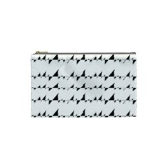 Black And White Wavy Stripes Pattern Cosmetic Bag (small)  by dflcprints