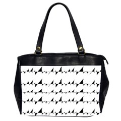 Black And White Wavy Stripes Pattern Office Handbags (2 Sides)  by dflcprints